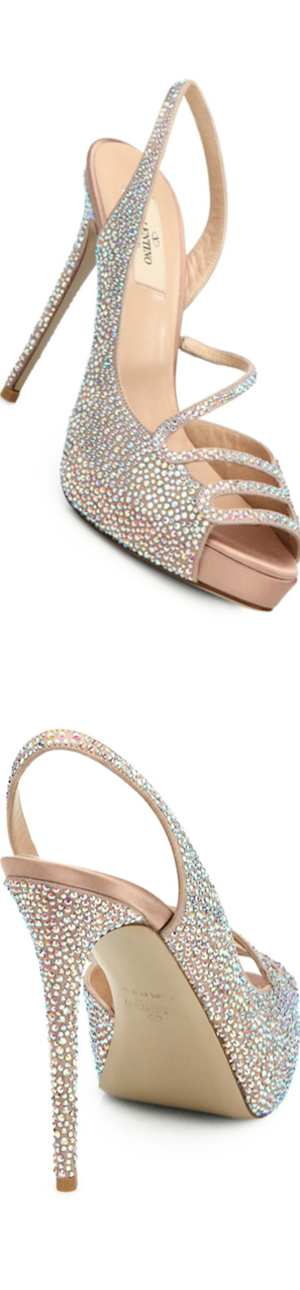 Valentino Strass Crystal Silk Satin Sandals