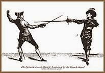 "French and Spanish fencing racks, an illustration from an 18th century book called (in Russian) ""The School of Fencing,"" by Domenico Angelo."