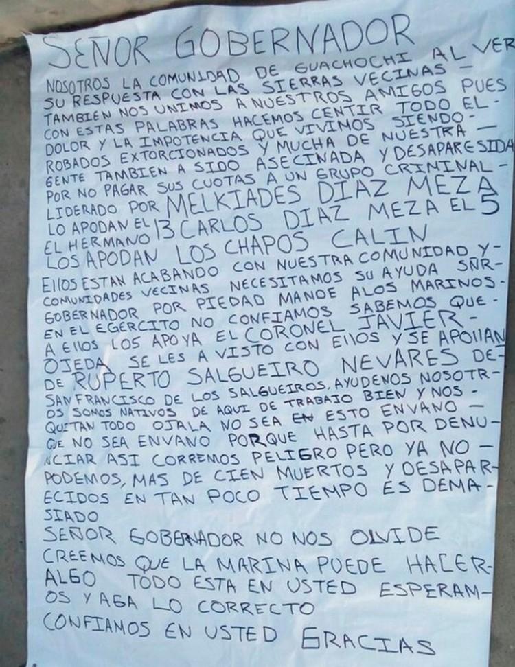 Narcomensaje contra El Gober Javier Corral; se quejan de 'Los Chapos'