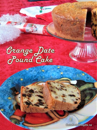 Sliced Orange Date Pound Cake.