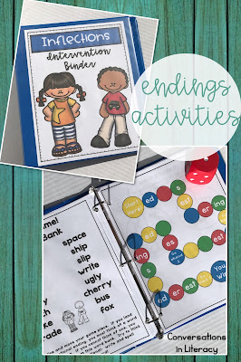 Inflectional Endings s, es, ing, ed Reading Intervention Binder