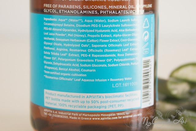 Champú hidratante y mascarillas capilares monodosis de Apivita.