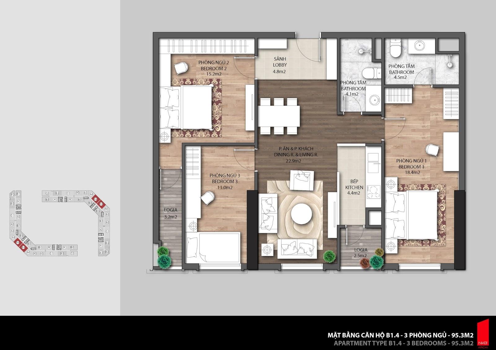 Mặt bằng căn hộ 95,3m2