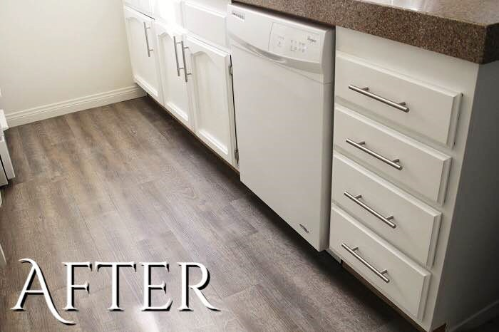Before And After Kitchen Flooring Easy And Affordable Peel And Stick Vinyl Flooring It Has