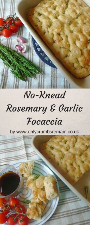 This no-knead focaccia, flavoured with rosemary and garlic, is easy to make and great for tearing and sharing with family and friends