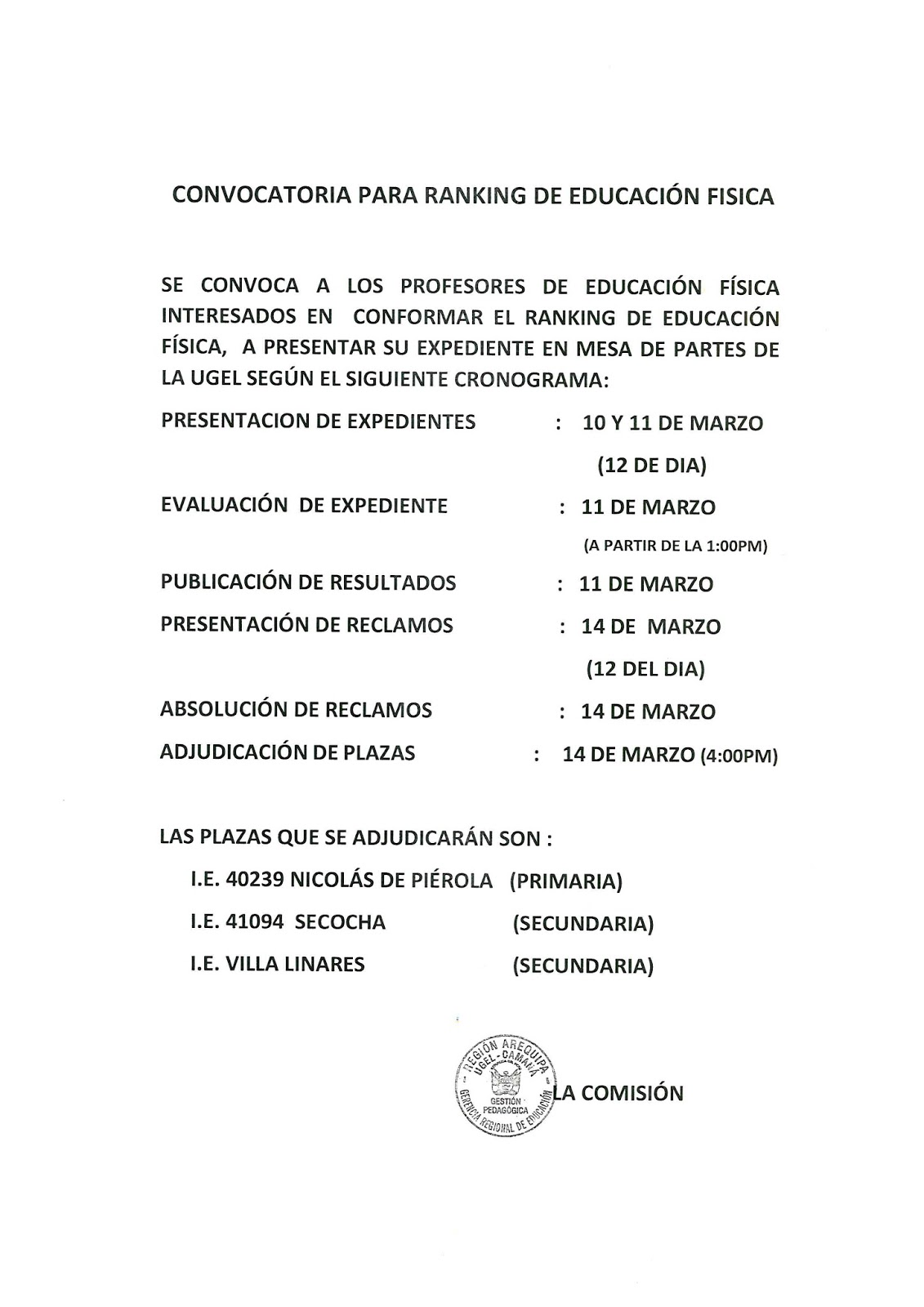 Convocatoria para plaza de educaci n f sica ugel caman for Convocatoria plazas docentes