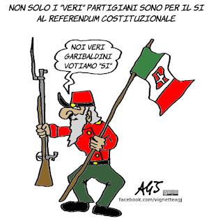 garibaldini, referendum costituzionale, boschi, sondaggi, partigiani, vignetta, satira
