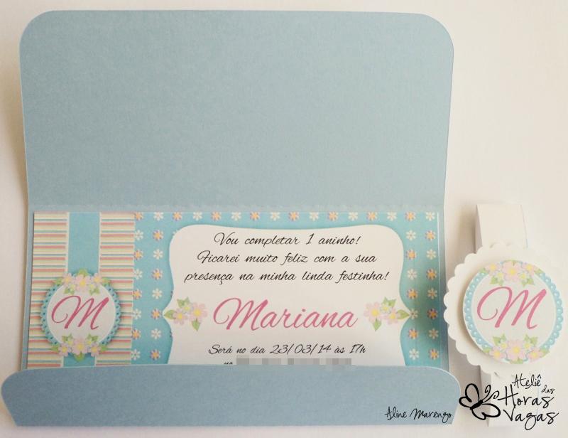 convite artesanal aniversário infantil provençal floral delicado jardim encantado azul e rosa menina 1 aninho