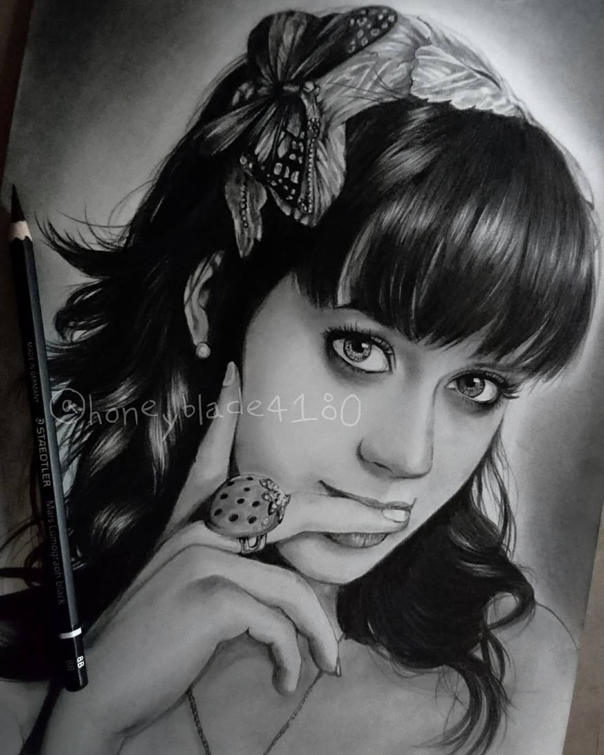 02-Katy-Perry-YU Pencil-Portrait-Drawings-of-Celebrities-and-Non-www-designstack-co