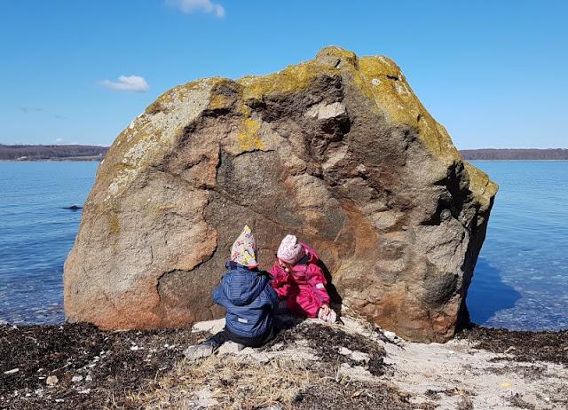 Ein Inselausflug nach Kegnæs. Der Stein an der Westküste gab uns und den Kindern Rätsel auf.