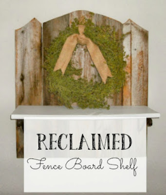 Take some old fence boards and make a cute rustic shelf!