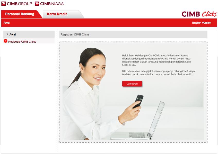 Cara Daftar Internet Banking CIMB Clicks melalui Website Bank CIMB