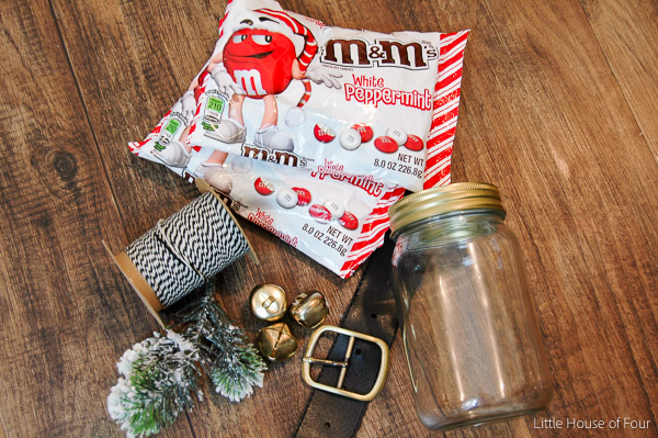 supplies needed to make Dollar Tree Santa belt jar