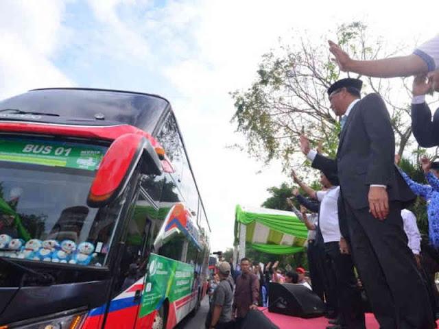 Nurdin Abdullah Lepas 1.000 Pemudik Bersama BPJS Ketenagakerjaan di Sulawesi Selatan