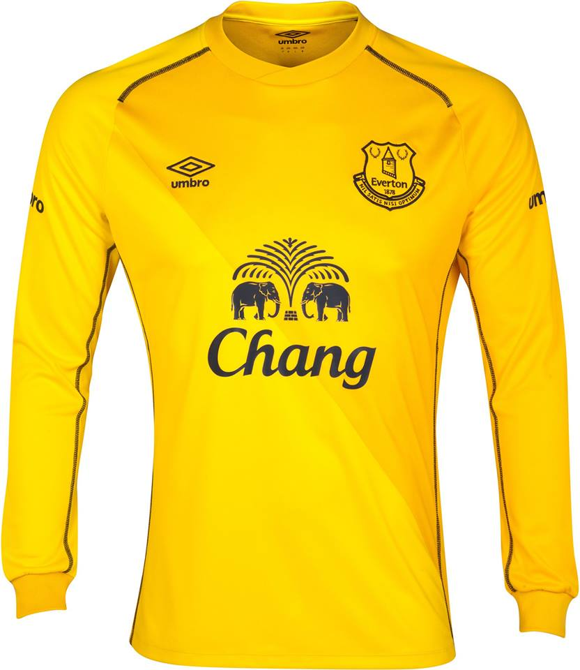 976b9f3a0 The all-yellow Everton 2014-2015 Goalkeeper Home Kit features a diagonal  design created with two tones of yellow