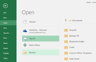 Gambar membuka file Excel 2016