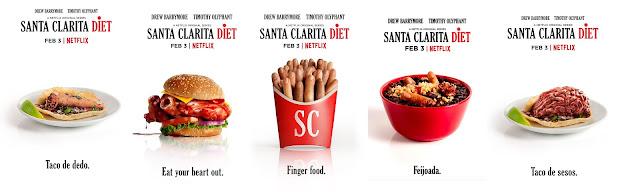 taco de dedo, hamburguesa de corazón, dedos en una cajita de patatas fritas, frijoles con dedos, taco de sesos