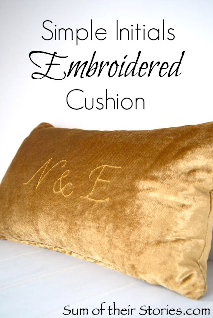 Initials embroidered cushion