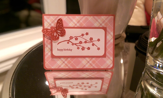 Pink Butterfly Card Using Martha Stewart Punch and Stampin' Up! Stamps