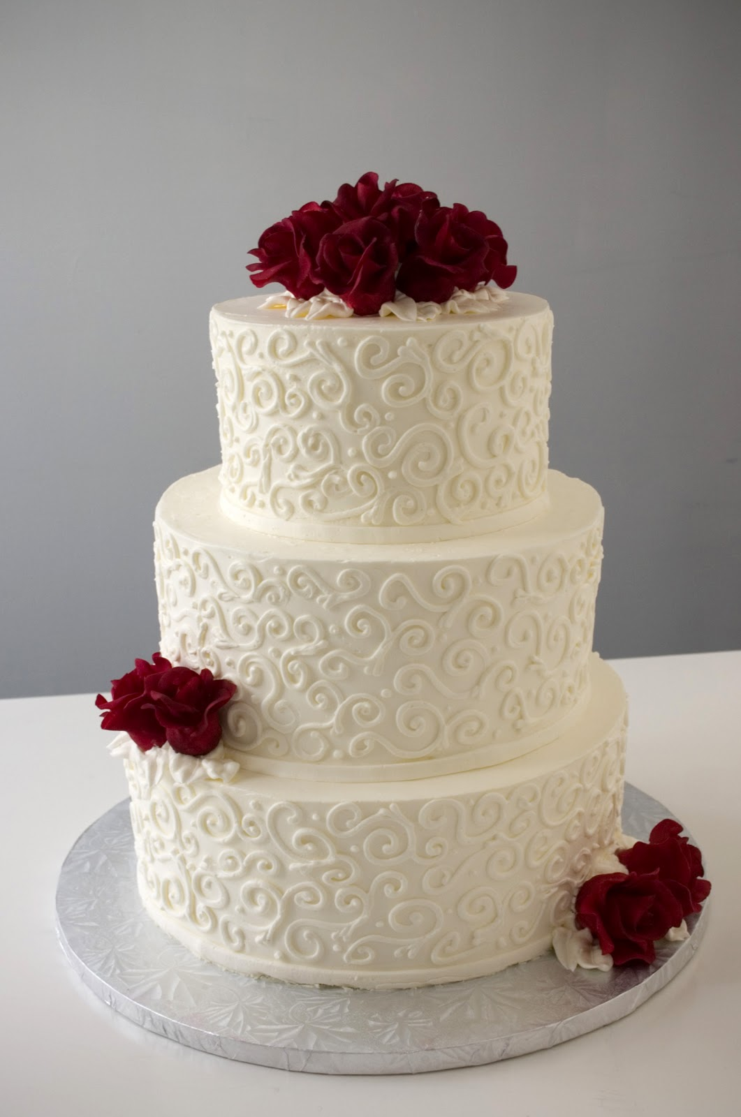 A Simple Cake  Inspiration Gallery Florentine Swirl with custom red classic roses
