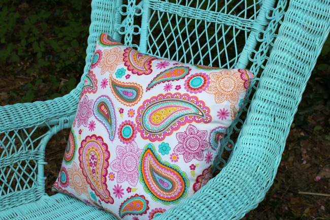 fabric pillow in pinks and blues