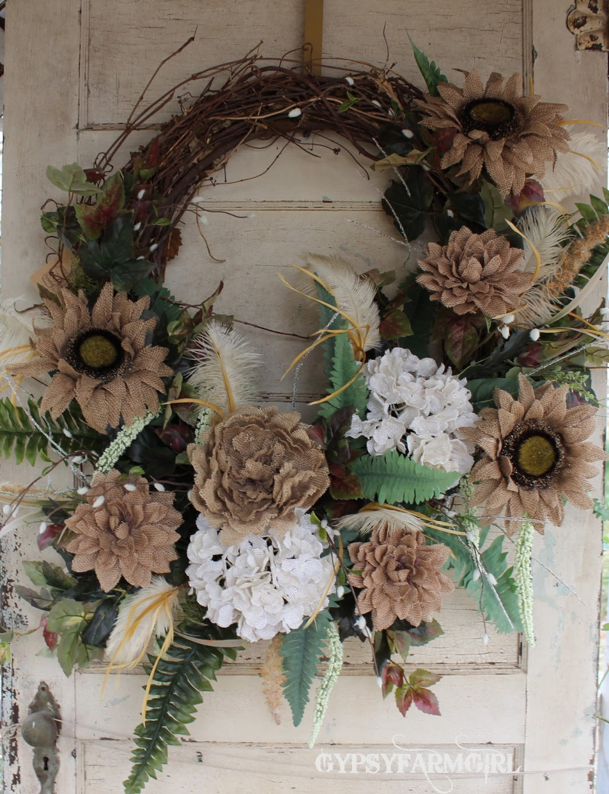 burlap grapevine wreath