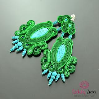 Long Soutache Earrings Batoidea – W szmaragdowej zieleni i turkusie