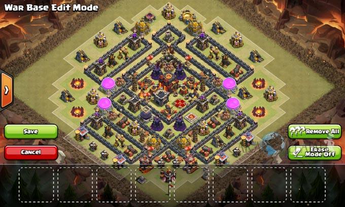 Desain Base Pertahanan Terbaik Untuk Base War TH 10 Update Terbaru 25