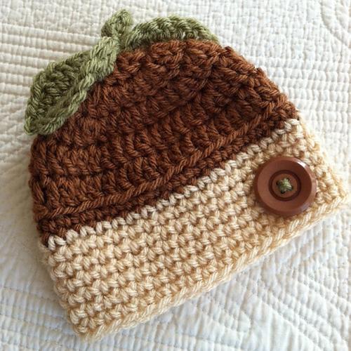 Crochet Acorn Baby Hat - Free Pattern