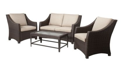 Belvedere 4 Piece Wicker Patio Conversation Furniture Set   Tan