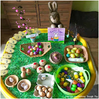 Easter Themed Tuff Tray. Easter activities for Preschoolers.