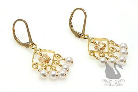Butterfly Pearl Mini Chandelier Crystal Earrings (E235)