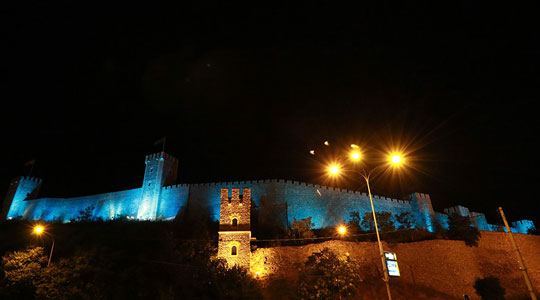 Skopje Kale Fortress lit in honor of the UEFA Super Cup