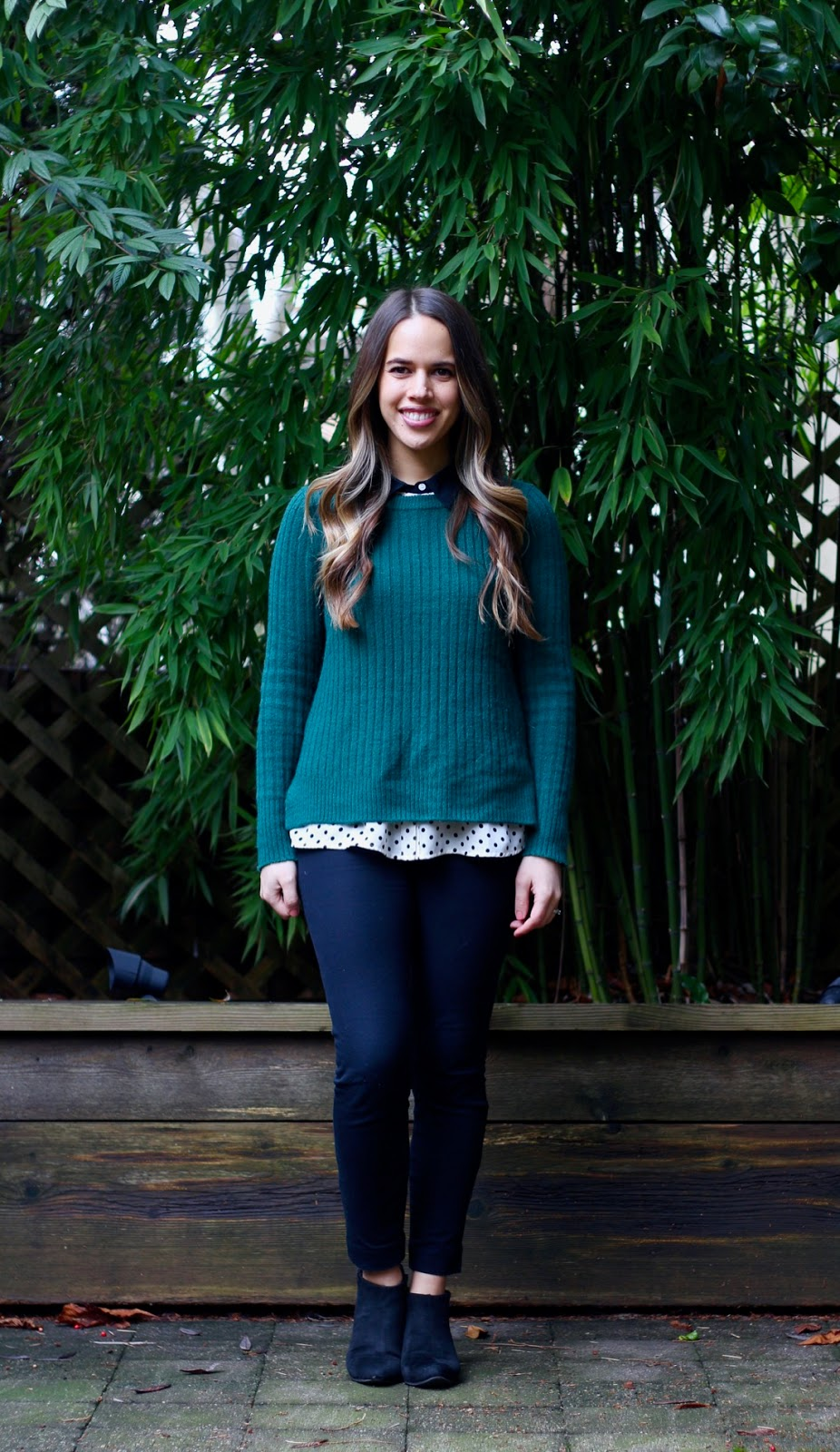 Jules in Flats - Layered Crew Neck Sweater Look (Business Casual Winter Workwear on a Budget)