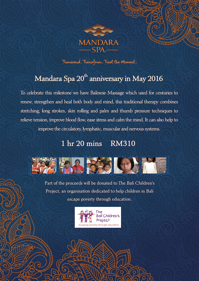 Mandara Spa 20th Anniversary promo