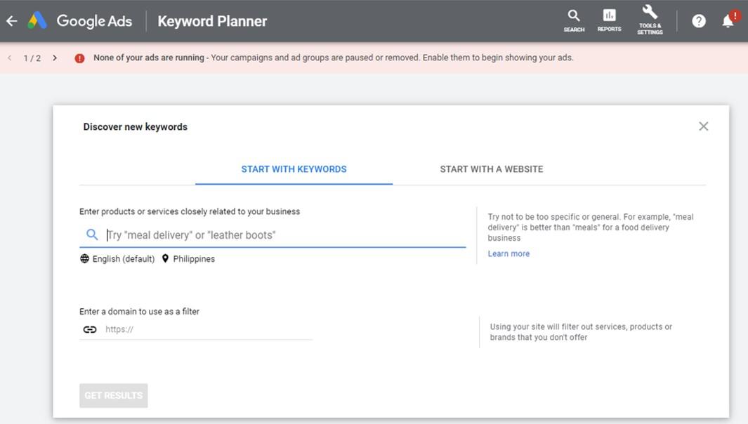 Google keyword planner free blogging tool