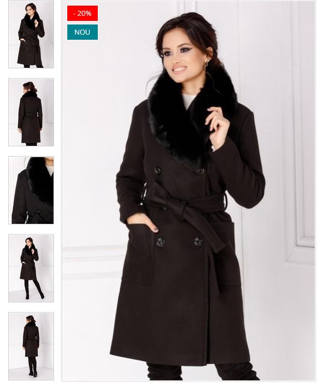 Palton dama cu blana naturala negru elegant cu rever accesorizat