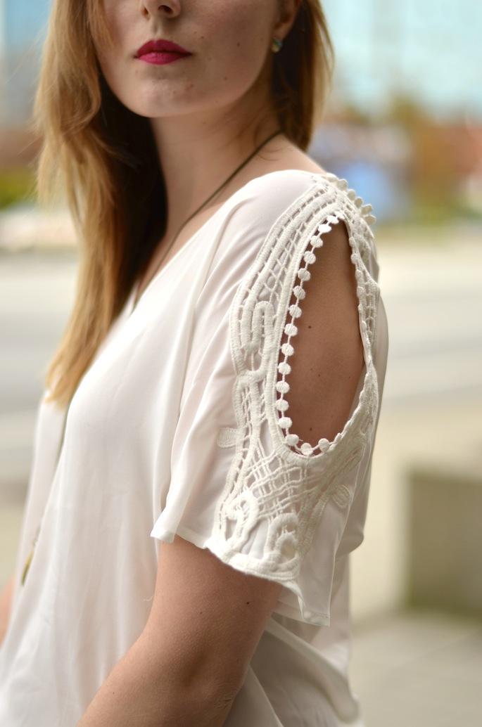 Crochet Cut Out Shoulder Blouse
