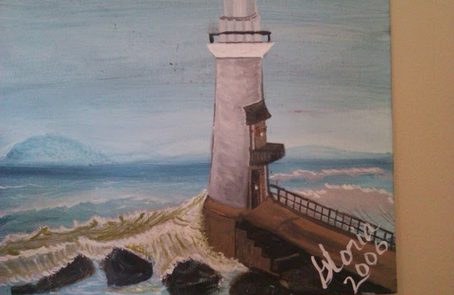 """Lighthouse oil painting, in series"" by Gloria Poole; yr 2006"