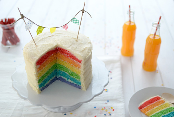 La Chica De La Casa De Caramelo Rainbow Cake - Tartas-de-cumpleaos-sencillas-y-originales