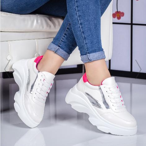 Pantofi sport dama albi cu roz cu talpa groasa la mdoa vara 2020 reducere