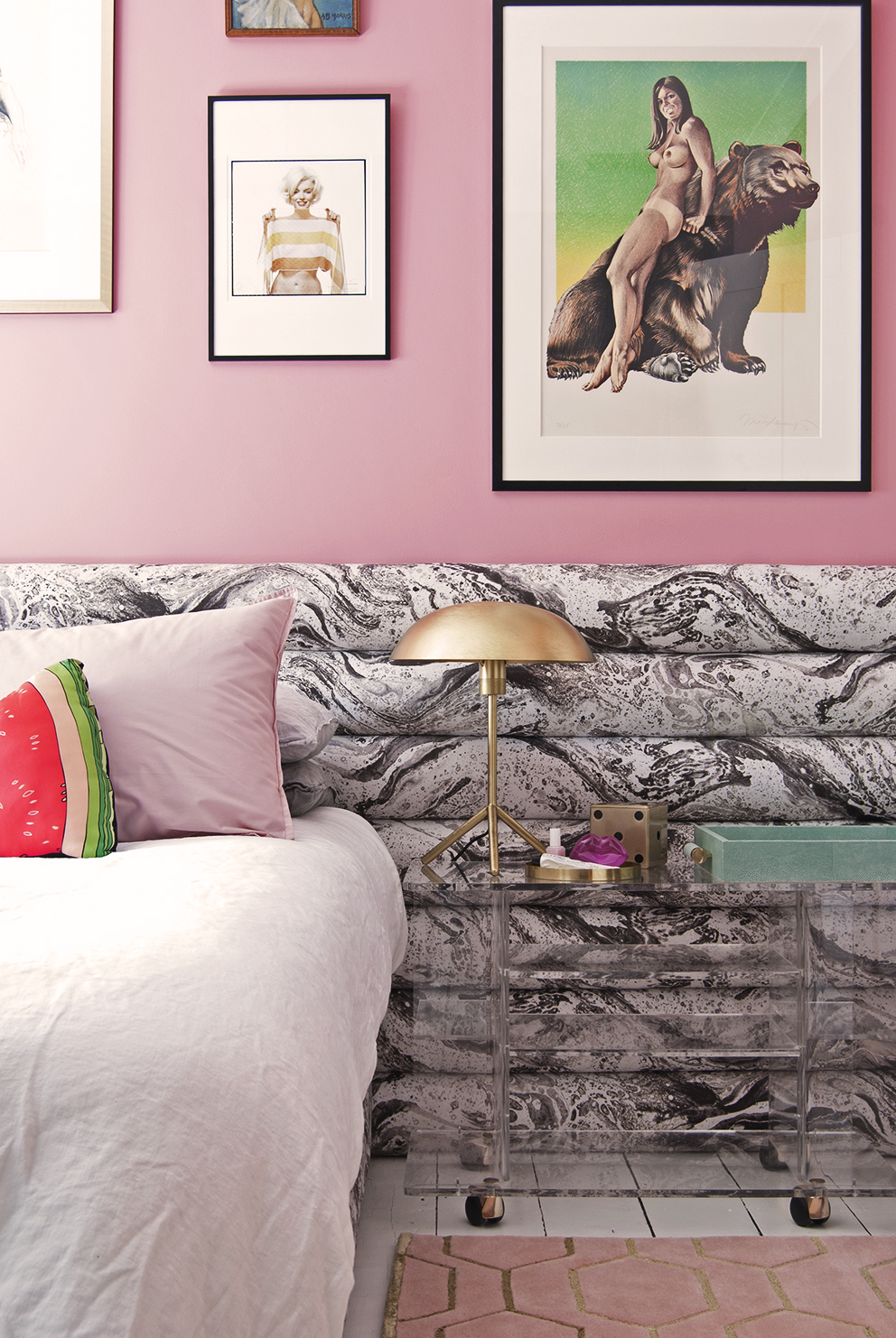 Amara Shoppable Home Inspiration Pages - French For Pineapple Blog - pink walls, dulux pink nevada 3, pink pillows, watermelon cushion, lucite nightstand, brass lamp