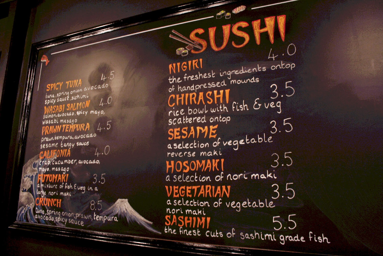 A simple but delicious sushi menu at Zero, Berkhamsted