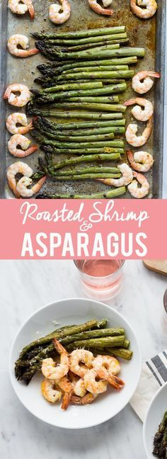 This Roasted Shrimp and Asparagus is a quick one sheet meal can be made in about 20 minutes and is tasty and healthy!