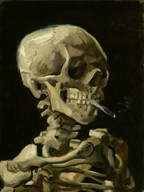 Skull of a Skeleton with Burning Cigarette - Vincent van Gogh, 1885-1886