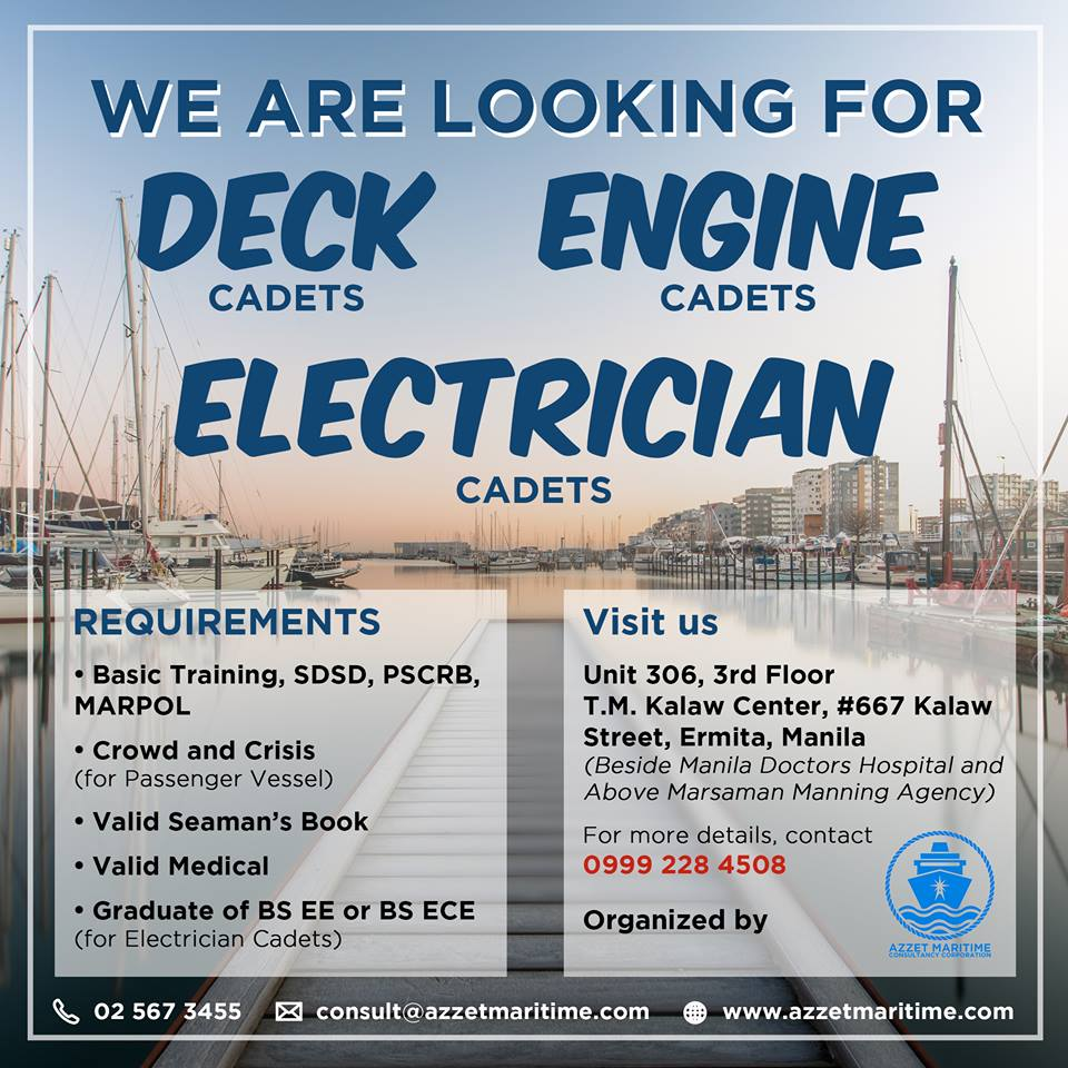 Looking Deck & Engine Cadets - Seaman jobs | Seafarer Jobs