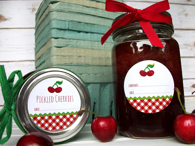 Gingham Cherry Canning Jar Labels
