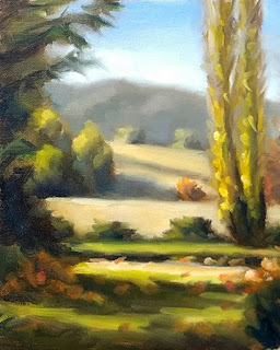 Oil painting of a garden scene including a poplar, with distant trees and hills.