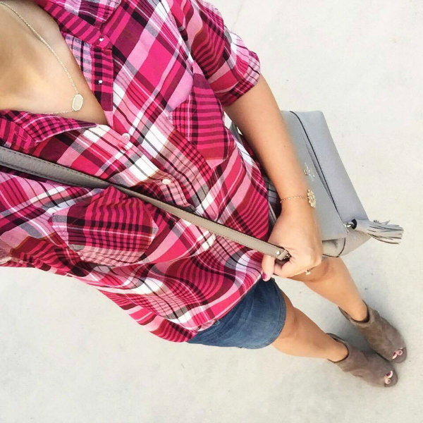 peep toe ankle boots, pink plaid shirt