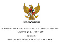 Permenkes No. 41 tahun 2017 Tentang Perubahan Penggolongan Narkotika